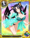 1girl animal_ears artist_request bikini bishop_(chess) black_hair blush breasts card_(medium) cat_ears cat_tail character_name chess_piece cleavage covered_nipples demon_wings hair_rings hairband high_school_dxd kuroka_(high_school_dxd) large_breasts lipstick long_hair makeup multiple_tails navel official_art purple_lipstick see-through slit_pupils smile solo striped striped_bikini swimsuit tail trading_card wings yellow_eyes