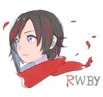 1girl asymmetrical_hair black_hair blue_eyes closed_mouth copyright_name multicolored_hair nagisa_kurousagi portrait red_scarf ruby_rose rwby scarf short_hair simple_background solo streaked_hair white_background