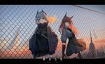 2girls absurdres arknights bangs black_gloves black_skirt blue_sky breasts brown_eyes brown_hair building chain-link_fence cloud commentary_request copyright_name day elbow_gloves fence floating_hair franka_(arknights) gloves grey_hair grey_shirt hair_between_eyes hands_in_pockets highres huge_filesize id_card jacket lanyard letterboxed liskam_(arknights) long_hair long_sleeves multiple_girls open_clothes open_jacket outdoors puffy_long_sleeves puffy_short_sleeves puffy_sleeves purple_jacket red_eyes shirt short_sleeves skirt sky skyscraper small_breasts storia very_long_hair