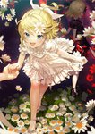 2girls :d alternate_costume ankle_ribbon arms_behind_back black_dress blonde_hair blue_eyes breasts commentary_request daisy dark_persona dress dual_persona fairy_dress_(module) flower grass hair_flower hair_ornament highres holding_hands kagamine_rin leaning_forward light_particles looking_at_viewer looking_back multiple_girls open_mouth out_of_frame pov pov_hands project_diva_(series) puffy_short_sleeves puffy_sleeves red_eyes ribbon sandals sawashi_(ur-sawasi) short_hair short_sleeves small_breasts smile solo_focus vocaloid walking white_dress