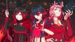 3girls absurdres beef13jerky black_hair blue_eyes cape color_connection corset cowboy_shot crescent_rose cropped_shirt crossover darling_in_the_franxx double-breasted fangs fingerless_gloves fingernails gloves grimm grin hand_on_hip highres hood hooded_cape horns kill_la_kill long_fingernails long_hair looking_at_viewer matoi_ryuuko mini_necktie multicolored_hair multiple_crossover multiple_girls navel pink_hair red_cape red_gloves red_hair ruby_rose rwby school_uniform senketsu serafuku short_hair silver_eyes smile smirk zero_two_(darling_in_the_franxx)