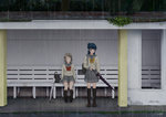 2girls ^_^ arms_at_sides bag bangs bench black_footwear black_legwear blue_hair blunt_bangs bow brown_hair building closed_eyes closed_umbrella day grey_skirt kneehighs loafers long_hair long_sleeves looking_away love_live! love_live!_sunshine!! multiple_girls outdoors over_shoulder papi_(papiron100) parted_lips plant pleated_skirt purple_eyes rain red_bow red_neckwear rust school_bag school_uniform serafuku shoes short_hair side_bun signature sitting skirt smile standing swept_bangs thighhighs tree tsushima_yoshiko umbrella uranohoshi_school_uniform watanabe_you yellow_bow yellow_neckwear zettai_ryouiki