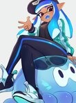 1girl :d arm_at_side baseball_cap black_pants blue_hair dark_skin domino_mask fangs hand_up hat highres inkling jacket jellyfish jellyfish_(splatoon) jtveemo long_hair long_sleeves looking_at_viewer mask open_clothes open_jacket open_mouth pants pink_eyes pointy_ears see-through shoes simple_background single_horizontal_stripe sitting smile solo splatoon_(series) splatoon_2 teeth tentacle_hair white_background