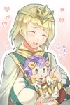 1boy 1girl armor blonde_hair blue_eyes brother_and_sister closed_eyes doll earrings est_tm european_clothes fire_emblem fire_emblem_heroes fjorm_(fire_emblem_heroes) horns hrid_(fire_emblem_heroes) jewelry purple_hair siblings smile tiara