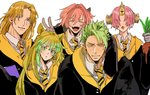 2girls 3boys achilles_(fate) animal_ears astolfo_(fate) atalanta_(fate) brown_eyes brown_hair chiron_(fate) closed_eyes collared_shirt commentary covered_eyes eyebrows_visible_through_hair fangs fate/grand_order fate_(series) frankenstein's_monster_(fate) green_eyes green_hair hair_over_eyes harry_potter highres horn hufflepuff long_hair mandrake matching_outfit matimatio multicolored_hair multiple_boys multiple_girls necktie open_mouth orange_hair pink_hair robe shirt short_hair two-tone_hair v yellow_eyes