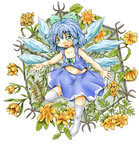 1girl bare_arms blue_eyes blue_hair cirno eyebrows fang flower folded_leg hair_ribbon hexagon highres leaf looking_at_viewer midriff navel no_shoes open_mouth over-kneehighs ribbon short_hair skirt skirt_set solo thighhighs touhou trellis vines white_background white_legwear wings ys_(ytoskyoku-57)