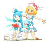 2girls adapted_costume alternate_hair_length alternate_hairstyle american_flag_shirt american_flag_skirt bangs bare_arms behind_another blonde_hair blue_eyes blue_hair blue_vest bow buck_teeth cirno clownpiece commentary_request dress fairy_wings hair_bow hands_on_own_leg hands_together hat indian_style jester_cap kneehighs kneeling long_hair looking_at_another multiple_girls open_mouth outstretched_arms parted_bangs petticoat red_eyes red_legwear red_neckwear ribbon shirt short_hair short_sleeves sidelocks sideways_glance simple_background sitting sleeveless sleeveless_shirt spread_arms touhou vest white_background white_dress white_legwear wings ziro_(daydozen)
