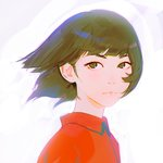 1girl black_eyes black_hair close-up closed_mouth face highres ilya_kuvshinov looking_at_viewer original profile short_hair simple_background solo wind