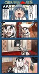 3girls 4koma ahoge black_hair comic commentary double_bun eyebrows_visible_through_hair fire grey_eyes grey_hair gun hair_between_eyes hair_bun heavy_cruiser_hime highres holding holding_gun holding_weapon home_alone horns ido_(teketeke) kantai_collection kiyoshimo_(kantai_collection) light_cruiser_oni long_hair long_sleeves low_twintails multiple_girls open_mouth orange_eyes parody shinkaisei-kan shirt translated twintails weapon white_hair white_shirt