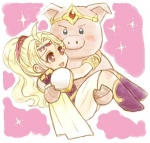 1girl :d ankle_boots blonde_hair blue_eyes boots carrying cecil_harvey chibi creature eye_contact final_fantasy final_fantasy_iv full_body hug kazaki_(akllab) looking_at_another lowres open_mouth pig pink_background ponytail princess_carry red_eyes rosa_farrell shoulder_pads simple_background smile sparkle
