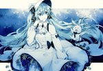 1girl :d ascot bare_shoulders blue_theme bow bowtie bunny collared_dress cowboy_shot detached_sleeves dress dress_bow frilled_dress frills gocoli hair_between_eyes hair_bow hat hatsune_miku headset highres long_hair looking_at_another microphone monochrome neckerchief open_mouth puffy_sleeves smile snowflakes stuffed_animal stuffed_toy thighhighs twintails very_long_hair vocaloid yuki_miku yukine_(vocaloid)