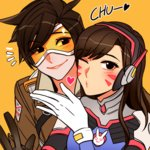2girls bangs blush bodysuit bomber_jacket bracer breasts brown_eyes brown_gloves brown_hair brown_jacket bunny_print d.va_(overwatch) eyebrows facepaint facial_mark gloves goggles hand_up headphones heart hooreng jacket leather leather_jacket long_hair looking_at_viewer multiple_girls one_eye_closed overwatch pilot_suit ribbed_bodysuit short_hair simple_background smile spiked_hair spoken_heart tracer_(overwatch) turtleneck union_jack w whisker_markings white_gloves yellow_background
