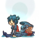 1girl blue_hair blue_legwear blush_stickers d: fangs gible hair_ribbon hitec moemon open_mouth personification pokemon pokemon_(creature) pokemon_(game) pokemon_dppt ribbon short_hair sitting skirt thighhighs zettai_ryouiki