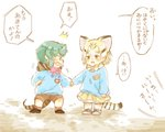 2girls adapted_costume animal_ears blonde_hair blue_hair blush bow bowtie brown_hair cat_ears cat_tail child commentary_request extra_ears eyebrows_visible_through_hair frilled_skirt frills holding_hands hood hood_down kemono_friends kindergarten_uniform long_sleeves moeki_(moeki0329) multicolored_hair multiple_girls name_tag neck_ribbon nose_blush ribbon sand_cat_(kemono_friends) short_hair shorts skirt snake_print snake_tail socks sweatdrop tail translation_request tsuchinoko_(kemono_friends) yellow_eyes younger