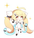1girl :o ahoge azur_lane bangs bare_shoulders blonde_hair blush brown_eyes brown_footwear chibi detached_sleeves dress eldridge_(azur_lane) eyebrows_visible_through_hair facial_mark highres leng_xiao long_hair long_sleeves multiple_tails open_mouth outstretched_arms puffy_long_sleeves puffy_sleeves simple_background sleeveless sleeveless_dress solo sparkle spread_arms standing standing_on_one_leg tail thighhighs twintails two_tails very_long_hair white_background white_dress white_legwear