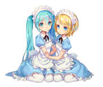 2girls aqua_eyes aqua_hair blonde_hair blue_dress blue_eyes dress hair_ornament hairclip hatsune_miku kagamine_rin long_hair looking_at_viewer maid maid_headdress multiple_girls short_hair simple_background twintails very_long_hair vocaloid white_background yamano_uzura