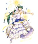 1girl armpits bangs bare_shoulders bouquet breasts bridal_gauntlets bridal_veil bride candle detached_collar dress earrings fire_emblem fire_emblem:_rekka_no_ken fire_emblem_heroes flower full_body green_eyes green_hair hair_flower hair_ornament high_ponytail highres holding jewelry long_hair looking_away lyndis_(fire_emblem) magic medium_breasts necklace official_art petals ponytail smile solo sparkle strapless strapless_dress transparent_background veil very_long_hair weapon wedding wedding_dress white_dress yamada_koutarou