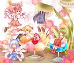 5girls animal_ears ascot bad_id bad_pixiv_id blonde_hair blue_hair bow cape cirno cup dress food fruit green_hair hair_bow hat head_wings highres ice_cream in_container in_cup in_food kazami_yuuka kosaka minigirl multiple_girls mystia_lorelei nature pinafore_dress pink_hair plaid plaid_skirt plaid_vest plant rumia skirt skirt_set strawberry team_9 touhou venus_flytrap vest vore wings wriggle_nightbug wrist_cuffs