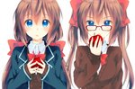 2girls :o apple bangs blazer blue_eyes blue_jacket blush bow bowtie breasts brown_hair cardigan collared_shirt commentary_request food fruit glasses hair_between_eyes hair_bow hand_up holding holding_food holding_fruit jacket long_hair long_sleeves looking_at_viewer low_twintails medium_breasts multiple_girls open_clothes open_jacket open_mouth original parted_lips peke_(xoxopeke) red-framed_eyewear red_bow red_neckwear school_uniform shirt side-by-side sidelocks simple_background sleeves_past_wrists tareme twintails undershirt upper_body upper_teeth v-shaped_eyebrows white_background white_shirt wing_collar