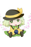 1girl blush bow chibi commentary floral_background frilled_sleeves frills green_eyes green_hair hands_in_sleeves hat hat_bow hat_ribbon komeiji_koishi long_hair open_mouth ribbon sitting sleeves_past_wrists solo third_eye touhou yuzuna99
