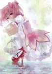 1girl bobby_socks bow bubble_skirt dress frilled_dress frills gloves hair_bow high_heels highres kaname_madoka leg_hug magical_girl mahou_shoujo_madoka_magica pink_eyes pink_hair pisuke red_shoes reflection sad shoes short_hair short_twintails skirt socks solo squatting tears twintails wet
