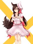 1girl animal_ear_fluff animal_ears bangs breasts brown_hair cleavage collarbone commentary_request cosplay dress eyebrows_visible_through_hair fang_out feet_out_of_frame frilled_shirt_collar frills hair_between_eyes hat hat_ribbon highres imaizumi_kagerou long_hair looking_at_viewer medium_breasts mob_cap own_hands_together pink_dress pink_headwear puffy_short_sleeves puffy_sleeves red_eyes red_ribbon red_sash remilia_scarlet remilia_scarlet_(cosplay) ribbon sash short_sleeves smile solo standing thighs touhou two-tone_background very_long_hair white_background wolf_ears yellow_background yuuyake