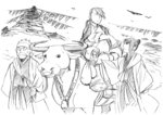 1girl 2boys animal arakawa_hiromu bag bull desert fu_(fma) fullmetal_alchemist highres lan_fan ling_yao multiple_boys official_art ponytail sketch