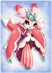 1girl antennae artist_name black_eyes blue_background blush border commentary deviantart_username english_commentary full_body furry gen_7_pokemon hands_up happy highres light_blush looking_at_viewer lurantis midna01 no_humans open_mouth pokemon pokemon_(creature) red_sclera simple_background smile solo standing watermark web_address white_border