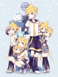 3boys 3girls age_comparison age_difference akiyoshi_(tama-pete) anniversary arm_warmers birthday blonde_hair blue_eyes bow brother_and_sister cuddling detached_sleeves hair_bow hair_ornament hair_ribbon hairclip headphones headset holding hug kagamine_len kagamine_len_(append) kagamine_rin kagamine_rin_(append) leaning_on_person leg_warmers multiple_boys multiple_girls multiple_persona navel necktie niconico ribbon sailor_collar see-through short_hair shorts siblings signpost smile terebi-chan twins vocaloid vocaloid_append yellow_neckwear