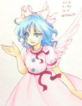 1girl bangs bare_arms blue_eyes blue_hair bow buttons character_name colored_eyelashes commentary_request dated dress eyebrows eyebrows_visible_through_hair feathered_wings feathers hair_bow hand_up io_(maryann_blue) mai_(touhou) pink_bow pink_dress pink_wings puffy_short_sleeves puffy_sleeves short_hair short_sleeves simple_background solo touhou touhou_(pc-98) traditional_media twitter_username uneven_eyes v-shaped_eyebrows white_background wings
