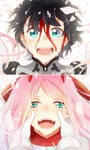 1boy 1girl bangs black_hair blood blood_on_face bodysuit couple crying crying_with_eyes_open darling_in_the_franxx gloves green_eyes happy happy_tears hetero highres hiro_(darling_in_the_franxx) horns long_hair open_mouth pilot_suit pink_hair red_bodysuit short_hair smile tears temaroppu_(ppp_10cc) zero_two_(darling_in_the_franxx)