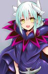1girl blush caster_(fate/zero) caster_(fate/zero)_(cosplay) commentary_request cosplay dragon_horns fate/grand_order fate/zero fate_(series) green_hair hair_between_eyes horns kiyohime_(fate/grand_order) long_hair looking_at_viewer open_mouth purple_robe robe sen_(astronomy) shadow solo upper_body yellow_eyes