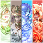 4girls ahoge blue_eyes blue_hair brown_hair fangs fire frfr game_cg gnome gnome_(mon-musu_quest!) goo_girl green_eyes green_hair hat long_hair mon-musu_quest! monster_girl multiple_girls pointy_ears red_eyes red_hair rock salamander_(mon-musu_quest!) sylph_(mon-musu_quest!) undine_(mon-musu_quest!) water wind yellow_eyes