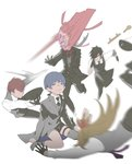 5boys apron azuki_nagamitsu_(touken_ranbu) black_gloves black_hair blonde_hair blue_hair crying daihannya_nagamitsu_(touken_ranbu) gloves highres holster kenshin_kagemitsu kouryuu_kagemitsu motion_blur multiple_boys running shokudaikiri_mitsutada shorts silver_hair simple_background thigh_holster throwing touken_ranbu white_background