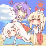3girls ahoge ayanami_(azur_lane) azur_lane bangs barefoot beach bendy_straw bikini blonde_hair blue_bikini blue_sailor_collar blue_sky blush brown_eyes casual_one-piece_swimsuit chibi cloud cloudy_sky crown cup day drinking_glass drinking_straw eyebrows_visible_through_hair flower food green_eyes hair_between_eyes hair_flower hair_ornament hair_ribbon high_ponytail holding holding_cup holding_food horizon inflatable_dolphin inflatable_toy innertube javelin_(azur_lane) laffey_(azur_lane) long_hair mini_crown multiple_girls navel ocean one-piece_swimsuit orange_neckwear outdoors pink_swimsuit ponytail popsicle purple_hair red_eyes red_ribbon ribbon sailor_collar sakurato_ototo_shizuku sand sky sparkle standing sun_(symbol) swimsuit tilted_headwear tropical_drink twintails v-shaped_eyebrows very_long_hair water watermelon_bar white_flower white_hair white_swimsuit