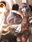 1girl armpits belt blue_eyes blue_hair book dated dress fire fire_emblem fire_emblem:_fuuin_no_tsurugi flame hat highres holding holding_book kazaguruma lilina long_hair open_mouth outstretched_arm pantyhose pointing pointing_forward red_hat solo twitter_username