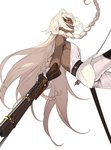 1girl ahoge backless_outfit braid breasts coat fate/grand_order fate_(series) gloves glowing glowing_eyes gun lakshmibai_(fate/grand_order) long_hair looking_at_viewer pako pants parted_lips red_eyes rifle saber_(weapon) scabbard sheath side_braid sideboob simple_background solo sword unsheathed weapon white_background white_gloves white_hair