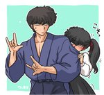 1boy 1girl \m/ annoyed aqua_background artist_name bangs behind_another black_dress black_eyes black_hair blue_hakama blush brother_and_sister closed_mouth collarbone dougi dress embarrassed eyebrows_visible_through_hair eyelashes fidgeting frown hair_between_eyes hair_ribbon hakama hands_up japanese_clothes kunou_kodachi kunou_tatewaki long_sleeves looking_at_viewer looking_to_the_side motion_lines nose_blush peeking_out ranma_1/2 red_ribbon ribbon school_uniform shirt short_hair siblings side_ponytail sleeve_tug standing sweatdrop two-tone_background upper_body v-shaped_eyebrows wanta_(futoshi) white_background white_shirt