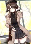 1girl arm_up bag beret black_choker black_hat black_legwear black_shirt black_skirt blush bow breasts brown_bow brown_coat brown_eyes brown_hair choker closed_mouth coat commentary_request fur-trimmed_hood fur_trim ginkgo ginkgo_leaf hand_in_hair hat hat_bow highres hood hood_down hooded_coat i.f.s.f indoors jewelry leaf long_hair long_sleeves medium_breasts open_clothes open_coat original pendant pleated_skirt shirt shoulder_bag skirt sleeves_past_wrists smile solo standing thighhighs tree window