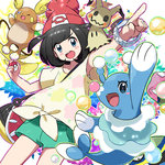 1girl alola_form alolan_grimer alolan_muk alolan_raichu bag bangs beanie black_hair blue_eyes blush_stickers bracelet brionne bubble fangs grimer handbag hat holding holding_poke_ball jewelry kingin looking_at_viewer mimikyu mizuki_(pokemon_sm) muk open_mouth pointing poke_ball pokemon pokemon_(creature) pokemon_(game) pokemon_sm raichu red_hat shirt short_hair short_shorts shorts swept_bangs t-shirt
