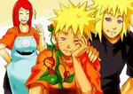 2boys 3girls apron blonde_hair blue_eyes commentary_request habanero habanero-tan long_hair multiple_boys multiple_girls namikaze_minato naruto one_eye_closed red_hair short_hair smile sunahara_wataru uzumaki_kushina uzumaki_naruto what_if