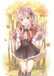 1girl :d animal_ears autumn autumn_leaves capelet commentary fang flower forest frilled_skirt frills hair_flower hair_ornament nature open_mouth original pleated_skirt shirt skirt smile tail tree wataame27 wolf_ears wolf_tail yellow_eyes