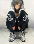 1girl alternate_costume anchor anchor_symbol bangs black_eyes black_hair black_jacket black_legwear blush closed_mouth clothes_writing commentary_request custom_(cus-tom) eyelashes gradient_hair hairband hood hooded_jacket hoodie jacket kantai_collection long_sleeves multicolored_hair nail_polish nike shoes short_hair short_hair_with_long_locks sitting smile sneakers solo tokitsukaze_(kantai_collection)