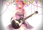 1girl bare_arms bare_shoulders black_dress blue_flower breasts closed_eyes daisy dress electric_guitar eyebrows_visible_through_hair flower frilled_dress frills gradient gradient_background grey_background guitar head_tilt instrument jewelry leaf light_smile long_hair megurine_luka music necklace open_mouth orange_flower orange_rose pink_flower pink_frills pink_hair pink_ribbon playing_instrument purple_flower red_flower red_rose red_string ribbon rose simple_background sleeveless sleeveless_dress smile solo standing string striped thighs upper_body vertical_stripes vocaloid white_background white_flower
