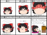 :d :i :t =_= >:( >_< angry black_hair bow breath chart closed_eyes cup expressions hair_bow hair_tubes hakurei_reimu mocchiri_(enoki5150) no_humans open_mouth pout smile sweat teacup television touhou translated yukkuri_shiteitte_ne