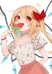 1girl alternate_costume arm_behind_back artist_name blonde_hair blue_hair blush bow commentary_request crystal eating eyebrows_visible_through_hair fang flandre_scarlet floral_print food food_in_mouth gotoh510 gradient_hair green_nails hair_between_eyes hair_bow hand_up highres holding holding_food looking_at_viewer multicolored_hair nail_polish no_hat no_headwear one_side_up pink_skirt pointy_ears popsicle red_bow red_eyes shirt short_sleeves sidelocks signature skirt solo touhou transparent_sleeves upper_body watermelon_bar white_shirt wings