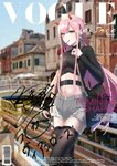 absurdres aqua_eyes bag black_legwear black_sweater blurry blurry_background bridge changpan_hutao cityscape commentary_request cover cutoffs darling_in_the_franxx dutch_angle earrings english engrish fake_cover food hairband highres horns in_mouth jewelry long_hair magazine_cover md5_mismatch navel pink_hair pocky ranguage shorts sidelocks signature standing sweater thighhighs vogue_(magazine) white_hairband zero_two_(darling_in_the_franxx)