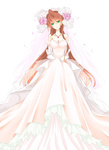 1girl asagi_marin breasts brigadoon brown_hair cleavage dress flower full_body gloves green_eyes hair_flower hair_ornament hair_ribbon jewelry large_breasts long_hair necklace older pink_flower pink_rose ribbon rose shino-o smile solo wedding_dress white_background white_dress