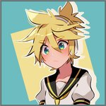 1boy aqua_background aqua_eyes blonde_hair blue_eyes closed_mouth collarbone commentary cutout ei_flow eyebrows_visible_through_hair hair_between_eyes headset highres kagamine_len male_focus messy_hair multicolored multicolored_background necktie ponytail sailor_collar simple_background thick_eyebrows vocaloid