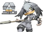 1girl bangs black_gloves black_hair bodystocking breast_pocket character_name chibi collared_shirt covered_mouth cowboy_shot fighting_stance fingerless_gloves fingernails floating_hair gloves green_eyes grey_hair grey_neckwear grey_shirt grey_shorts hair_between_eyes hands_up holding holding_spear holding_weapon kemono_friends long_hair long_sleeves looking_at_viewer low_ponytail multicolored_hair necktie no_tail orange_hair outdoors outstretched_arm pantyhose pocket polearm shirt shoebill_(kemono_friends) short_over_long_sleeves short_sleeves shorts side_ponytail simple_background solo spear weapon white_background wide-eyed ysk!